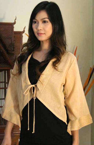 Cotton blouse, 'Thai Sands' - Handmade Cotton Blouse