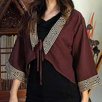 Cotton blouse, 'Thai Riches' - Unique Brown Cotton Blouse