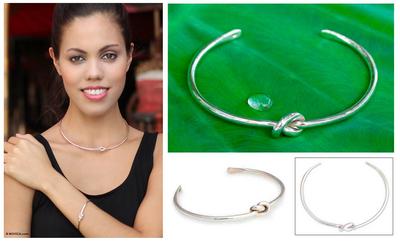 Sterling silver cuff bracelet, 'Love Knot' - Sterling Silver Cuff Bracelet