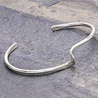 Sterling silver cuff bracelet, 'My Way' - Artisan Crafted Sterling Silver Cuff Bracelet