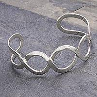 Sterling silver cuff bracelet, 'Waves'