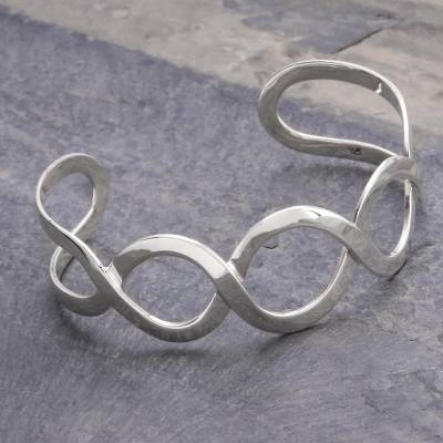 Sterling silver cuff bracelet, 'Waves' - Sterling Silver Cuff Bracelet