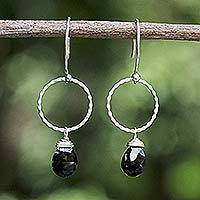 Black spinel dangle earrings, 'Nocturnal Solo' - Black spinel dangle earrings