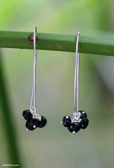 Tourmaline dangle earrings, 'Black Currant Clusters' - Handcrafted Sterling Silver and Tourmaline Dangle Earrings