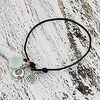 Leather and chalcedony pendant bracelet, 'Peaceful Ways'