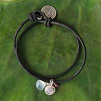 Leather and chalcedony charm bracelet, 'Peace Cycles'