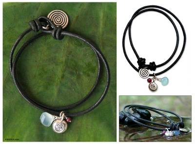 Leather and chalcedony charm bracelet, 'Peace Cycles' - Artisan Crafted Leather Wrap Bracelet
