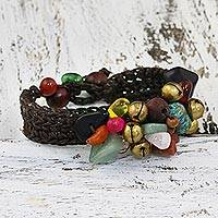 Rose quartz beaded bracelet, 'Dark Phoenix' - Beaded Multigem Bracelet