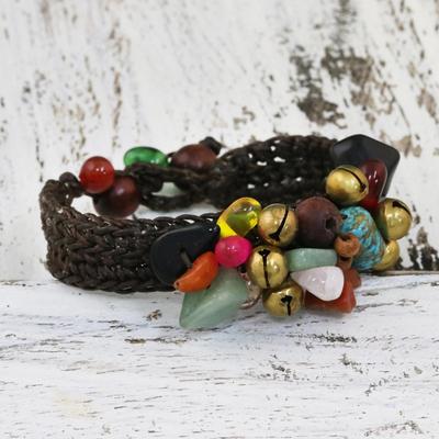 Rose quartz beaded bracelet, 'Dark Phoenix' - Beaded Multigem Bracelet