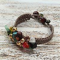 Rose quartz beaded bracelet, 'Antique Exuberance' - Unique Beaded Multigem Bracelet