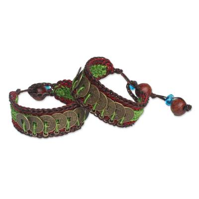 Beaded wristband bracelets, 'Coins of Harmony' (pair) - Hand Crafted Good Fortune Wristband Bracelets (Pair)