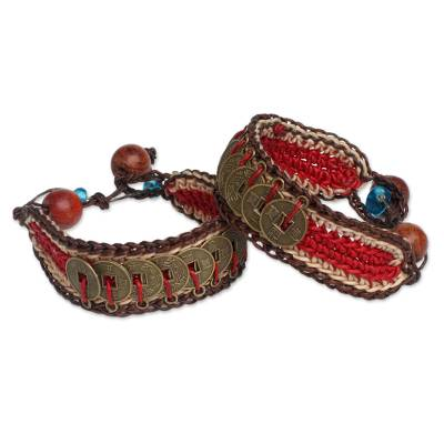 Beaded wristband bracelets, 'Coins of Passion' (pair) - Good Fortune Wristband Bracelets (Pair)