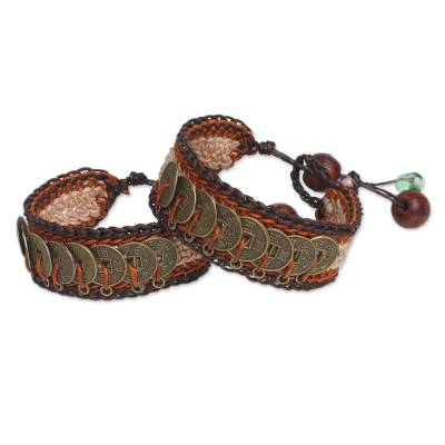 Beaded wristband bracelets, 'Coins of Earth' (pair) - Fair Trade Good Fortune Wristband Bracelets (Pair)
