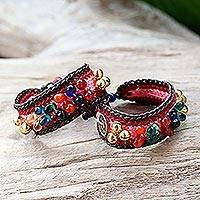Beaded wristband bracelets, 'Bold Pink Fortunes' (pair) - Beaded Wristband Bracelets (Pair)