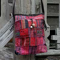 Cotton shoulder bag, 'Hill Tribe Patchwork' - Artisan Crafted Red Cotton Shoulder Bag