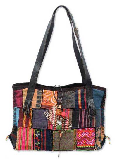 Novica Patchwork shoulder bag, Festive Pathways