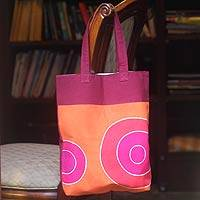 Cotton handbag, 'Orange Zest' - Hand Made Cotton Tote Bag