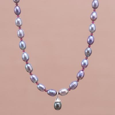 Pearl and garnet choker, 'Her Beauty' - Garnet and Pearl Choker