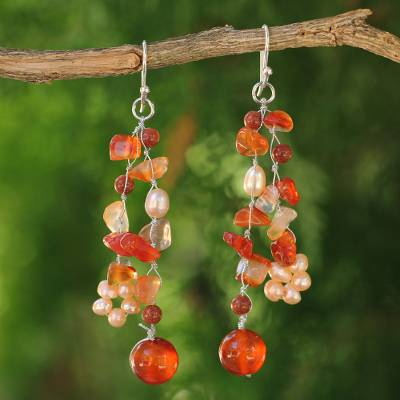 Pearl and carnelian clusters earrings, 'Sun Dancer' - Handmade Carnelian Waterfall Earrings
