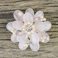 Rose quartz brooch pin, 'Pink Azalea' - Floral Rose Quartz and Pearl Brooch Pin