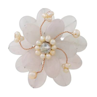 Floral Rose Quartz and Pearl Brooch Pin