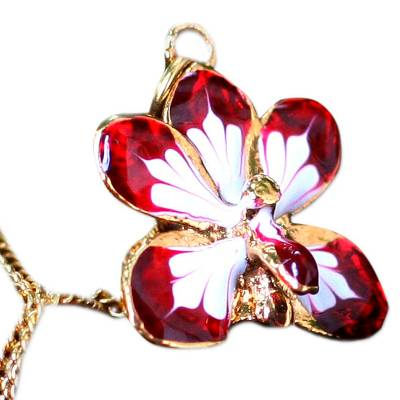 Fair Trade Gold Plated Natural Orchid Necklace