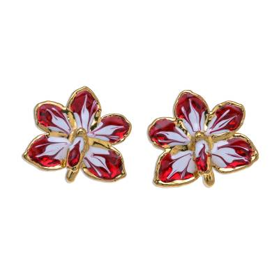 Unique Gold Plated Natural Orchid Jewelry Earrings