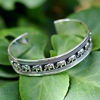 Sterling silver cuff bracelet, 'Elephant Parade' - Handcrafted Darkened Silver Elephant Cuff Braclet