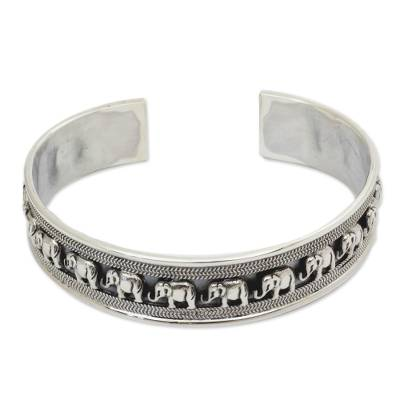 Sterling silver cuff bracelet, 'Elephant Parade' - Sterling Silver Elephant Cuff Bracelet