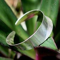 Silver cuff bracelet, 'Moonbeams' - Handmade Modern 950 Silver Cuff Bracelet