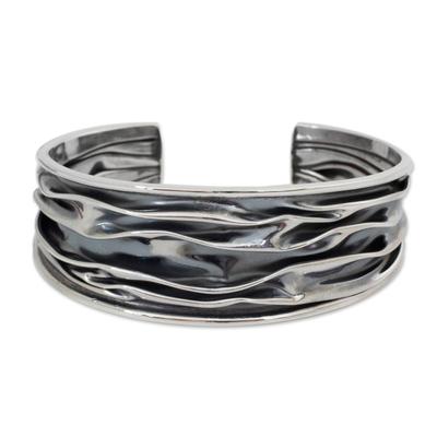 Sterling silver cuff bracelet, 'River' - Hand Crafted Sterling Silver Cuff Bracelet
