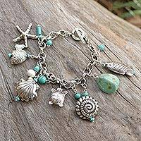 Cultured pearl charm bracelet, 'Open Sea'