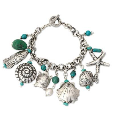 Cultured pearl charm bracelet, 'Open Sea' - 950 Silver and Cultured Pearl Charm Bracelet