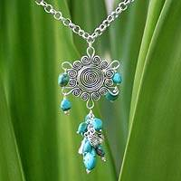 Turquoise Y necklace, 'Floral Radiance' - Turquoise Y necklace