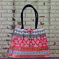 Cotton handbag, 'Bright Hmong Kaleidoscope' - Cotton Handbag with Thai Hmong Embroidery