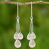 Sterling silver dangle earrings, 'Silver Dew' - Sterling Silver Dangle Earrings