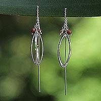 Sterling silver drop earrings, 'Dancing' - Hand Made Modern Sterling Silver Dangle Earrings