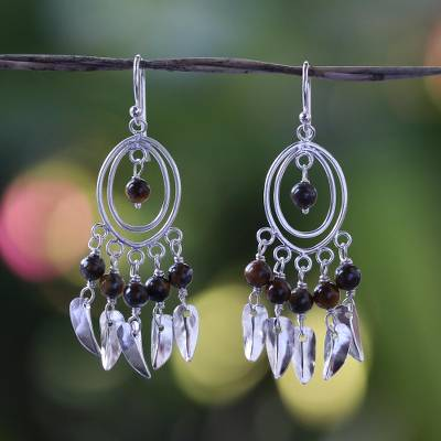 Tiger's eye chandelier earrings, 'Autumn Breeze' - Tiger's eye chandelier earrings