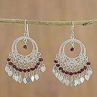Garnet chandelier earrings, 'Admiration'