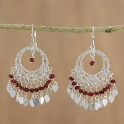 Garnet chandelier earrings, 'Admiration' - Sterling Silver and Garnet Chandelier Earrings