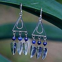 Lapis lazuli chandelier earrings, 'Ocean Trapeze' - Hand Crafted Lapis Lazuli and Silver Earrings