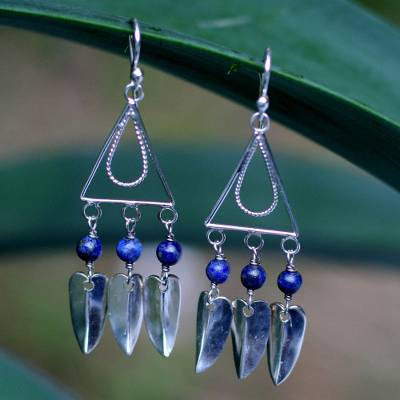 Teardrop Lapis Lazuli Dangle Earrings in Silver