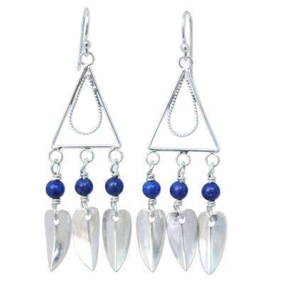 Hand Crafted Lapis Lazuli and Silver Earrings