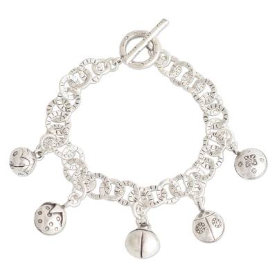 Handcrafted Fine Silver Charm Bracelet