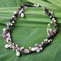Pearl and tourmaline choker, 'Rainbow' - Pearl and tourmaline choker