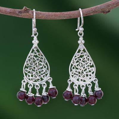 Garnet chandelier earrings, 'Lace Teardrop' - Garnet and Sterling Silver Chandelier Earrings