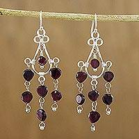 Garnet chandelier earrings, 'Red Chandelier' - Garnet chandelier earrings