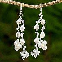 Pearl waterfall earrings, 'Whisper'