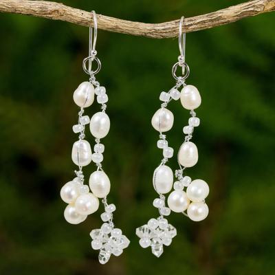 Pearl waterfall earrings, 'Whisper' - Pearl Earrings from Thailand