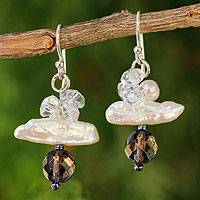 Pearl cluster earrings, 'Elusive Moon' - Pearl Cluster Earrings